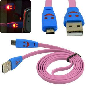 Кабель USB штекер micro USB - штекер USB, светящ. LED 1м, BS-3062