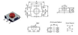 Кнопка  тактовая 6.2 x 6.2 x 3.1 (шток 2.5 мм) smd-монтаж 4c