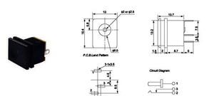 Гнездо DC 5.5 х 2.1 на корпус фаска (текстолит)