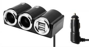 Разветвитель авто OLESSON 1502 (2 гнезда+ 2*USB)