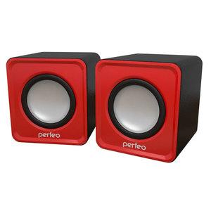 """Колонки Perfeo """"WAVE"""" 2.0, мощность 2х3Вт (RMS), красный, USB (PF-128-R)"""
