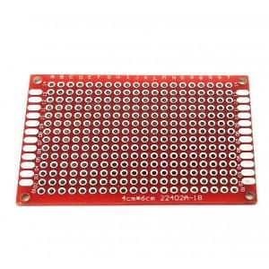Двусторонняя макетная плата 4х6 см, красная