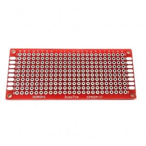 Двусторонняя макетная плата 3х7 см, красная