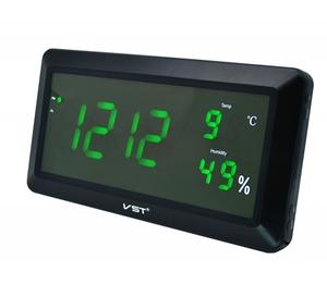 Часы эл. VST780S-4 зел.цифры (температура,влажность)