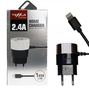 Сетевое зарядное устройство Tessla TL-19 USB 5V2,4A + IPH6 1,2m