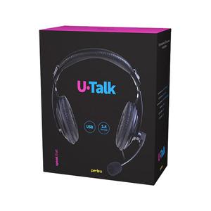 Гарнитура компьютерная стерео полноразмерная  Perfeo U-TALK, USB, черная (кабель 2,4м) PF_A4405
