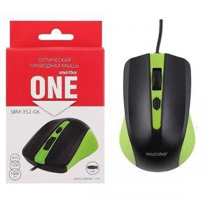 Мышь проводная Smartbuy 352 ONЕ USB зелено-черная (SBM-352-GK) /100