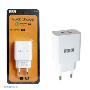 Сетевое зарядное устройство S20 5V/3.1A 1USB (быстрая зарядка QC3.0)