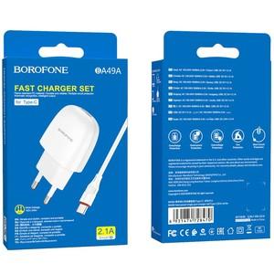 Сетевое зарядное устройство Borofone BA49A 5V/2,1A 1USB + Type-C 1m